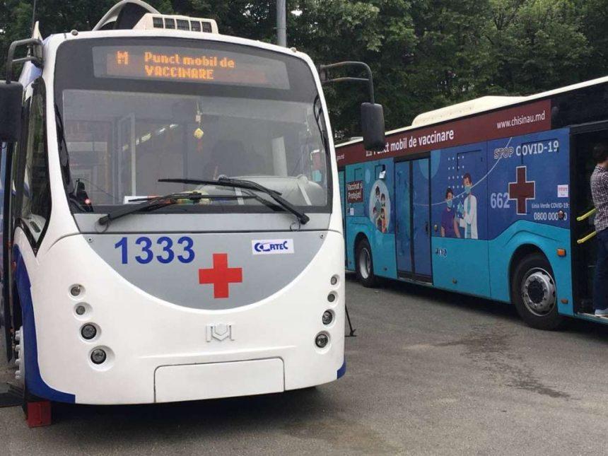 Amplasarea celor două puncte mobile pentru vaccinarea antiCOVID-19, un troleibuz și un autobuz: 21 iunie 2021