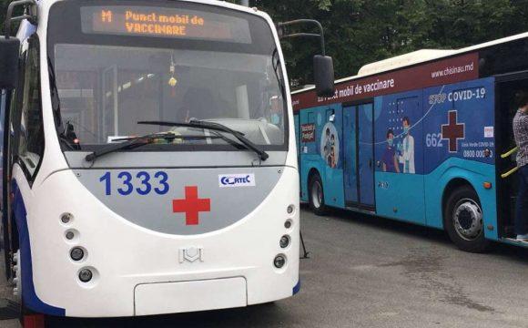 Amplasarea punctelor mobile pentru vaccinarea antiCOVID-19, un troleibuz și un autobuz: 26 iulie 2021